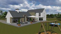 mod065-2 Home Design Plans, Plan Design, House Designs Ireland, Cottage Renovation, Modern Farmhouse Exterior, Front Elevation, New Builds, House Front, Bungalow