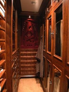 Master Suite Walk In Closet With Lighted Shoe Shelves, Closed Upper  Storage, Drawers