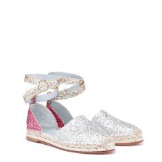 Silver glitter front, rear fuxia glitter - gold glitter thongs- jute sole 1,5 cm high