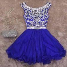royal blue homecoming dress,crystal beaded homecoming dress,short prom dress,semi formal dress