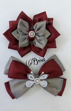 Social Media PinWire: School Moño by Brisa Ribbon Hair Bows, Diy Hair Bows, Diy Bow, Diy Ribbon, Cute Diy Hair Accessories, Boutique Decor, Hair Bow Tutorial, Kanzashi Flowers, Making Hair Bows