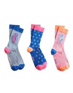 Joules Womens Bamboo Socks Set, Seaside.                     Good socks come in threes! These socks are made with bamboo, which has more benefits than you can shake a stick at such as being hypoallergenic, thermo-regulating and other long, scientific-sounding words.