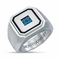 Forged from durable stainless steel, this striking ring features four Arctic blue diamonds specially treated to obtain a stunning icy hue. The diam... Brown Gemstone, Diamond Sizes, Signet Ring, Custom Engraving, Blue Diamonds, Arctic, Fashion Rings, Rings For Men, Jewelry Rings