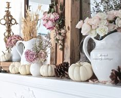FRENCH COUNTRY COTTAGE: Autumn on the Mantel If you're into white pumpkins and want to keep your fall mantle shabby chic, this is the fall mantle. I love it and think its very classy
