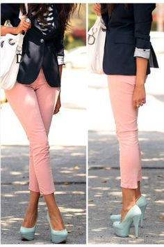 Pale pink skinnies. Navy blazer