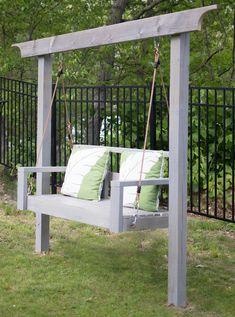 How to Build a Porch Swing Stand & How to Hang a Porch Swing - Gina Michele - Diy swing - Backyard Swings, Backyard Patio, Backyard Landscaping, Outdoor Swings, Garden Swings, Porch Swings, Pergola Swing, Diy Pergola, Lawn Swing