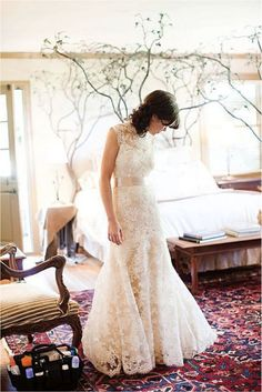 wedding dress full skirt tight waist lace top Here Comes the