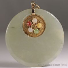 Vintage green jade disc love pendant 14k yellow gold large size no see more vintagejewelry and estatejewelry on our website link in bio aloadofball Choice Image