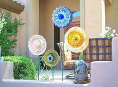 Garden Art Glass Flower Suncatcher UpCycled RePurposed