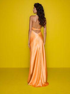 Mori Lee orange prom dress 7255 - Black halter formal dress   Promgirl.net