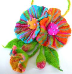sale sale Felted Flower Hand Felted Wool Jewelry by larisa71, via Etsy.