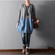 Solid color stitching sweaters - Tkdress  - 7