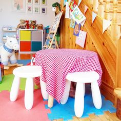 A hallway converted to a children's play area with simple Ikea furnishings, an upcycled table, and colourful gallery wall Kids Play Area, Kids Playing, Playroom, Upcycle, Toddler Bed, Ikea, Gallery Wall, Things To Come, Interior Design