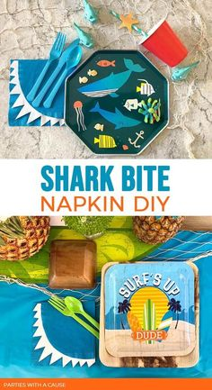 Are you ready for SHARK WEEK!? Celebrate with this awesome shark bite napkins DIY. Use them for an Under the Sea party, or Surf themed birthday too. Kids will love them and so will you. Free templates available at PartiesWithACause.com #sharkparty #underthesea #surfparty
