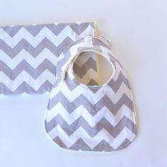 Baby Shower Gift Set, Grey Chevron Bib and Burp Cloth Unisex Baby Gift Set with Minky on Etsy, $17.68 AUD