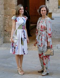 King Felipe VI, Queen Letizia and Queen Sofía of Spain received the authorities and a representation of the balearic society at Palacio Real de La Almudaina in Palma de Mallorca, Spain on August 07, 2016