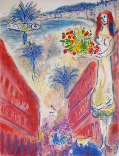 Marc Chagall Biography | Marc Chagall (after) Avenue de la Victoire at Nice - #MarcChagall learn more on http://www.johanpersyn.com/category/humanity/art/marc-chagall/