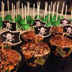 Pirate cupcakes and st Patrick's day cakepops
