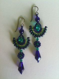 Earrings:  Fan Shape Emerald & Cobalt Blue with Lime Accents