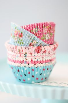 """Pretty liners-find pretty cupcake liners to use as """"teacups"""" for decoration when doing a large party. This alleviates the time and expense of having to make extra cupcakes that aren't needed! Cupcakes Bonitos, Cupcakes Lindos, Floral Cupcakes, Pretty Cupcakes, Making Cupcakes, Pink Cupcakes, Summer Cupcakes, Champagne Cupcakes, Filled Cupcakes"""
