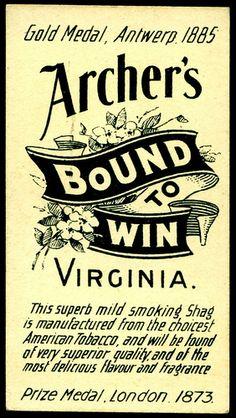 Cigarette Card Back - Archer's Cigarettes | Flickr - Photo Sharing!