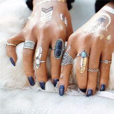 Boho Chic Midi Ring Set