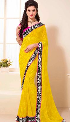 Select the Latest Beautiful Indian Yellow Georgette #PrintedSaree Online.  #Price INR- 2184 Link- http://alturl.com/hsxs4
