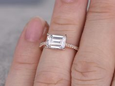 6x8mm Emerald Moissanite Engagement Diamond Wedding Ring 14k Rose Gold East to West Unique Style - BBBGEM