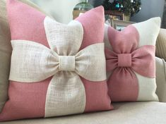 Burlap bow pillow cover in blush pink and off white burlap