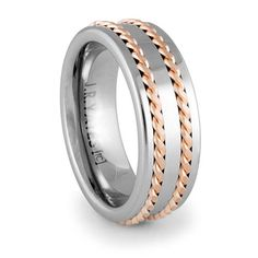 TRANSITION Tungsten Carbide with Red Gold Rope Inlays