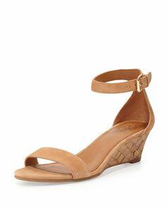 Savannah Suede Demi-Wedge Sandal, Capri Tan by Tory Burch at Bergdorf Goodman.