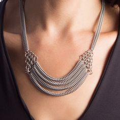 Rapt In Maille | Handmade Chainmaille Jewelry by Melissa Banks | Stainless Steel | Chicago — SLINKY Draping Section with Triangles Necklace