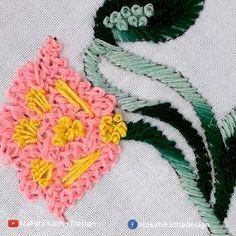 Hand Embroidery Flower Designs, Beaded Flowers Patterns, Floral Embroidery Patterns, Hand Embroidery Videos, Embroidery Stitches Tutorial, Embroidery Flowers Pattern, Machine Embroidery Projects, Decoration, Hand Embroidery Stitches