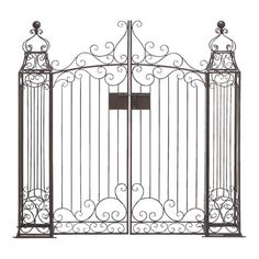Garden gate with ornate scrolling detail.   Product: GateConstruction Material: MetalColor: Bronze