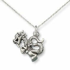 Small Dragon Charm Sterling Silver Made in the USA, 13-inch child's chain AzureBella Jewelry. $39.73. .925 sterling silver. Made in the USA. Jewelry gift box included. Children's chain included