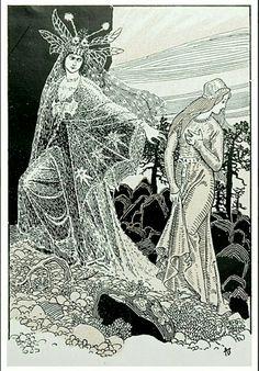 Andreas Bloch illustrasjon til Margarethe Munthes bok Fiskerpiken 1912