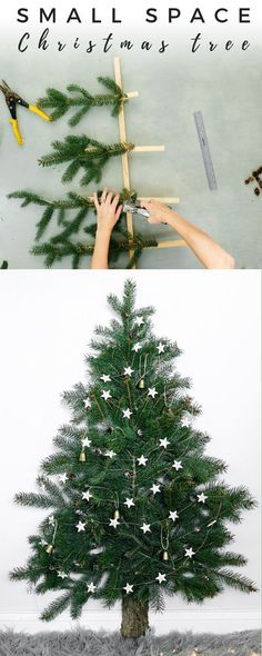 Here's an amazing project you can do for Christmas. It's a space saving Christmas tree perfect for small spaces. You can use real or faux pine and reuse it yearly plus its a fun family project. :D :D decor diy classroom Space Saving Christmas Tree Alternative Christmas Tree, Small Christmas Trees, Christmas Tree Crafts, Christmas Decorations, Christmas Ornaments, Christmas Movies, Christmas Lights, Rustic Christmas, Amazon Christmas