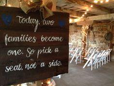 Wedding ceremony signage. #farmwedding #rusticwedding