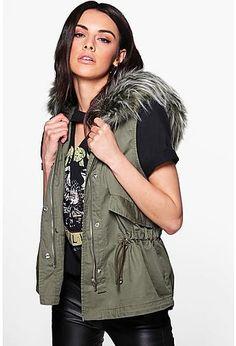 Beth Boutique Faux Fur Hood Gilet