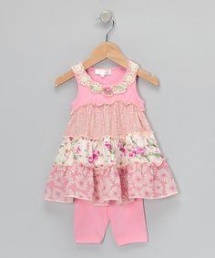 Take a look at this Pink Floral Tiered Tunic & Leggings - Infant, Toddler & Girls by Baby Sara on #zulily today!