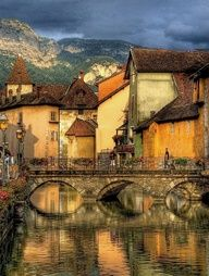 Annecy, located in the northern French Alps, is called the Venice of Savoie. The medieval town centre built around a 14th Century Chateau is riddled with canals and streams running out of Lac Annecy, which is clean, fresh and a wonderful azure colour.