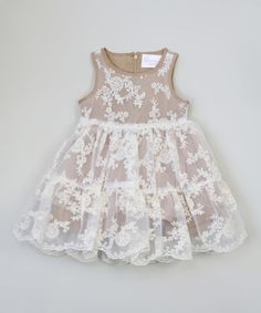 Look what I found on #zulily! Almond Lace Dress - Toddler & Girls #zulilyfinds