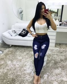 Women S Fashion Worldwide Shipping Sexy Outfits, Fall Outfits, Cute Outfits, Fashion Outfits, Womens Fashion, Mode 2018 Trends, Fashion 2018 Trends, Cute Ripped Jeans, Jean Skirt Outfits