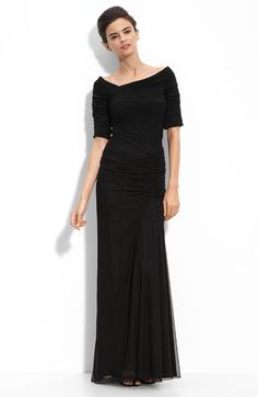 Tadashi Shoji Asymmetrical Ruched Mesh Gown available at #Nordstrom