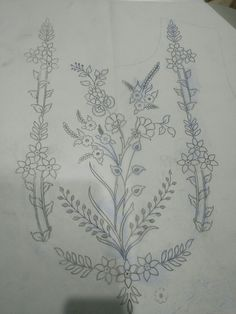 Untitled Zardozi Embroidery, Hand Embroidery Stitches, Machine Embroidery Patterns, Embroidery Tattoo, Border Embroidery Designs, Embroidery Suits Design, Textile Pattern Design, Jewelry Design Drawing, Wreath Drawing