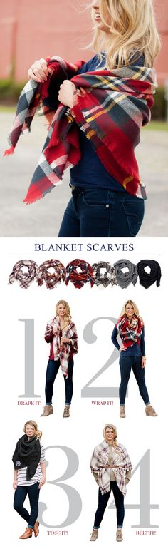 """Wrap yourself in the warmth of these cozy, oversized blanket scarves. So versatile, wear them 4 different ways. Choose from 6 pattern and colors including holiday plaid, houndstooth, or black. Have three monogram initials custom embroidered in the corner of your scarf in your choice of lettering style and thread color. These scarves are the perfect accessory to add to your Christmas gift list. Scarves measure 57"""". To order, visit http://www.tippytoad.com/monogrammed-blanket-scarves.asp"""