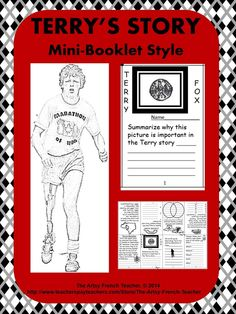 Terry's Story - Mini Booklet Style, an 8 page intro to the life of Terry Fox… Teaching Social Studies, Teaching Resources, Teaching Ideas, Sixth Grade, Grade 2, Ontario Curriculum, Primary Maths, Teacher Notebook, French Teacher