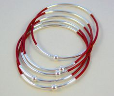 Set of 6 SILVER Double Tube  Leather Bangles  Silver by BeMyCharm, $18.50