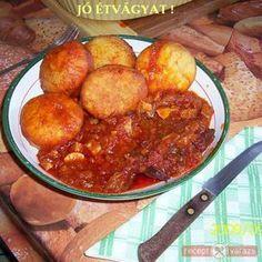 Petőfi rostélyos, krumplis fánkkal Wok, Chana Masala, Meat Recipes, Food And Drink, Ethnic Recipes