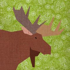 Moose Paper pieced quilt block pattern PDF by BubbleStitch on Etsy, $2.90
